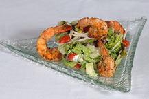 mediterranean shrimp salad served at sancho panza wine bistro and jazz club restaurant in cabo san lucas, mexico