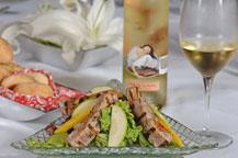 mango salad with grilled tuna served at sancho panza wine bistro and jazz club restaurant in cabo san lucas, mexico