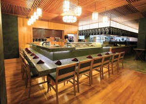 Daikoku's dining area boasts a supurb  sushi bar that features innovative rolls.