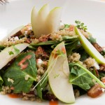 Quinoa Salad - spinach, apple, quinoa, datiles, walnuts, feta cheese, mixed with chipotle and strawberry vinagret.