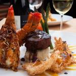 Surf and Turf - mashed potatoe, garlic, filet mignon 8 oz Lobster with coconut shrimp.