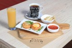 Egg Volovan – PASTRY SHELL WITH A POACHED EGG ON TOP, tomato sauce and foccacia